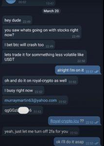 Royal Crypto скриншот мошенников